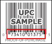The UPC is found under the product barcode on the Proof of Purchase
